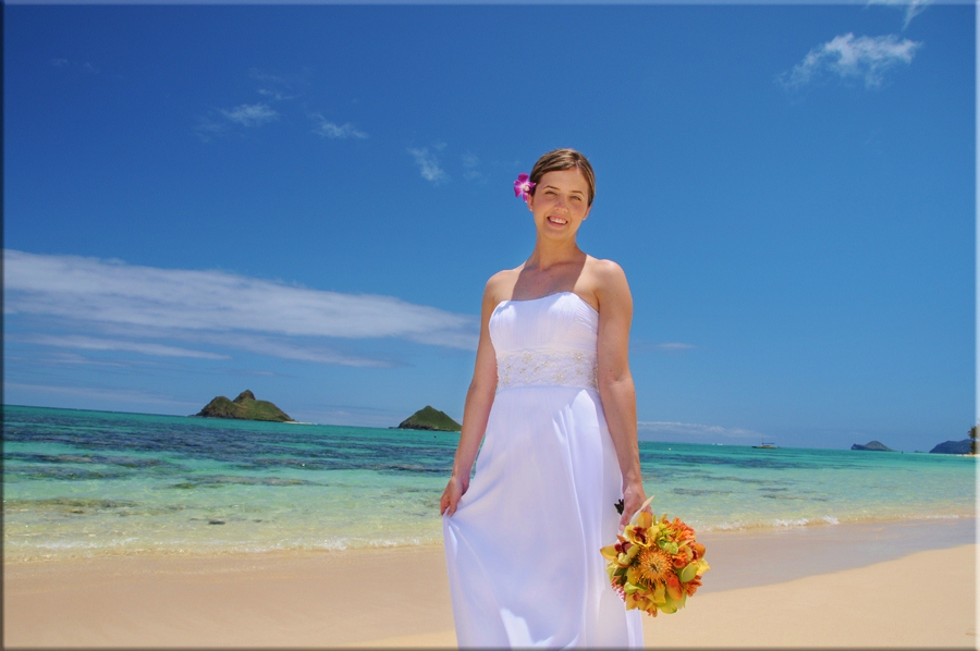 Cute Bride at Lanikai Beach