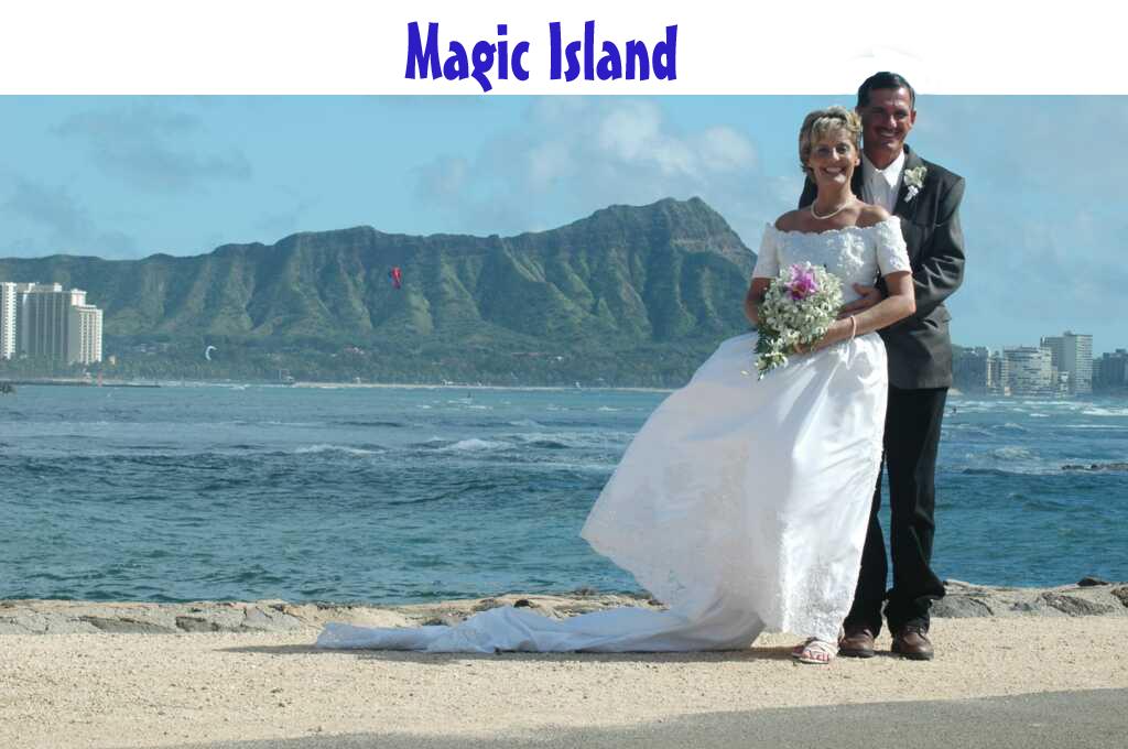 Magic island for Wedding dress rental hawaii