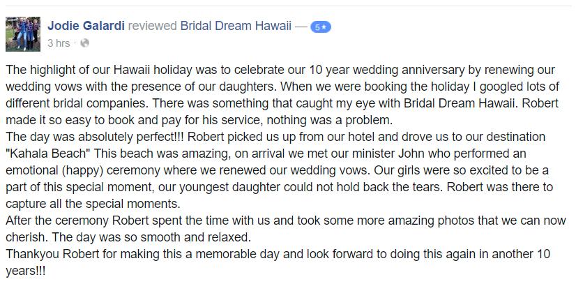Hawaii Wedding Reviews