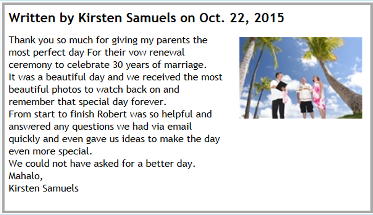 Hawaii Wedding Testimonials